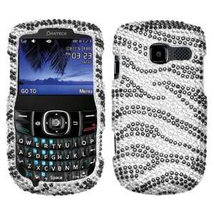 Black Zebra Skin Diamante Protector Cover for PANTECH