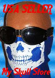 BLUE SKULL MOTORCYCLE BANDANA FACE MASK GLOW OR WHITE