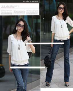 Ruffled Front Elbow Length Sheer Sleeve Elastic Hem Ladies T Shirt Top