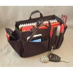 Black Handbag Bag Purse Travel Cosmetic Make Up Tote Organizer Insert