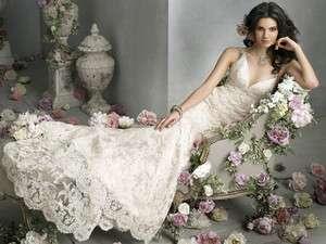 Elegant V neck White/Ivory Lace Wedding Dress Bridal Gown Size