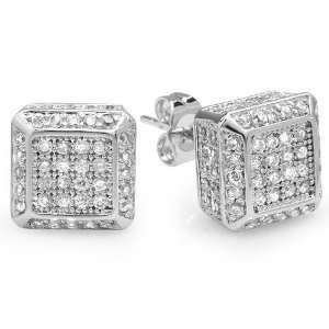 18k White Gold Plated Stud Earrings 10mm Dice Shaped White Round Cubic