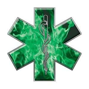 Star of Life EMT EMS Inferno Green 4 Reflective Decal