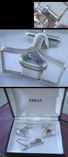 Vtg IBM Crystal Oscillator Cufflinks Tie Bar Clasp Set