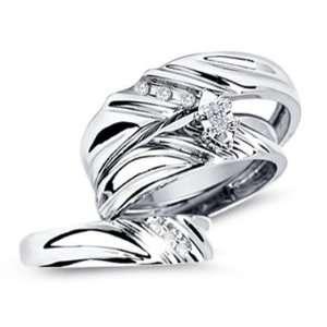 Diamond Engagement Rings Set Wedding Bands White Gold Men Ladies .17ct