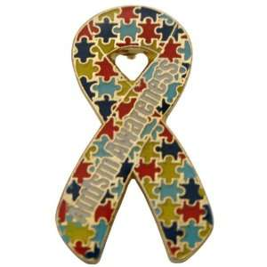 Autism Awareness Puzzle Ribbon Pin   Die Struck Fundraiser