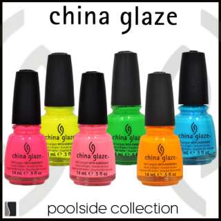 LOT of 6 China Glaze Nail Polish POOLSIDE SET Collection .5 oz Lacquer