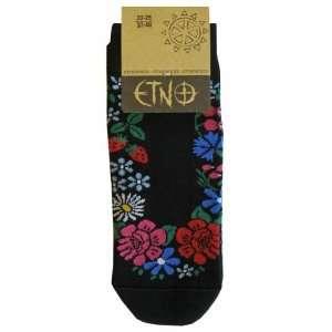 Etno Black socks for women with flower pattern