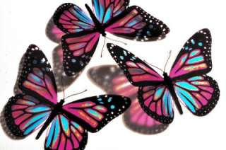 3D PINK BLUE Butterfly Kids Room Wall Art Decoration