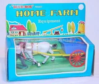 Blue Box 132 FARMER + FARM WAGON & HORSE Plastic MB`70