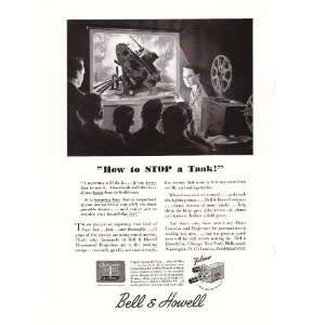 1944 WWII Ad Bell & Howell Training Film How to Stop a Tank Original