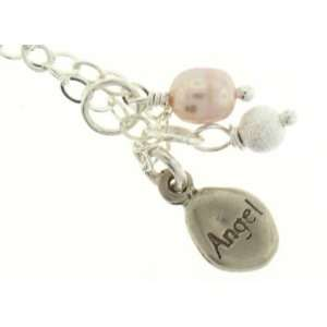 Angel Charm and Pink Pearl Necklace