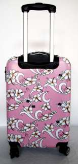 Hard Rolling 4 Wheels Spinner Upright Hawaiian Floral Pink TSA