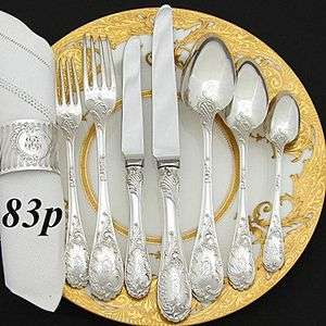 Exquisite 83pc Antique PUIFORCAT French Sterling Silver Flatware Set