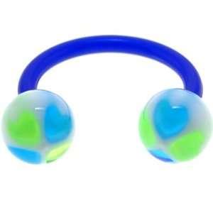 Bioplast Blue Green Hearts Circular Horse Shoe Jewelry