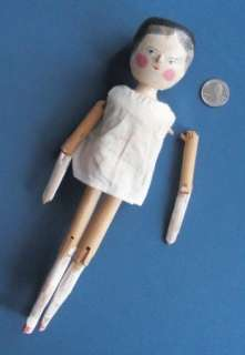 Victorian style PENNY PEG WOODEN DOLL jointed DUTCH 11