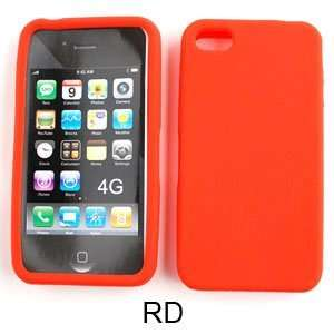 Apple iPhone 4 Deluxe Silicone Skin, Red Hard Case,Cover,Faceplate