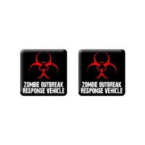 Zombie Outbreak Response Vehicle   3D Domed Set of 2 Stickers Badges