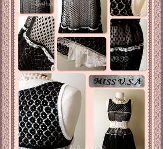 NEW Black Floral/Polka Dot Lace Overlay White Satin Lovely Babydoll