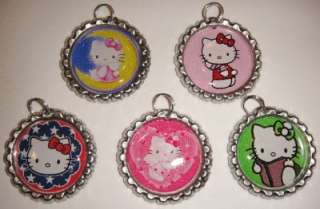 HELLO KITTY Finished Flattened Bottle Caps Pendants with Rings Set 8