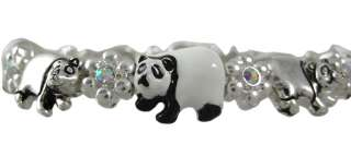 Beautiful Panda Bear Aurora Borealis Rhinestone Stretch Bracelet