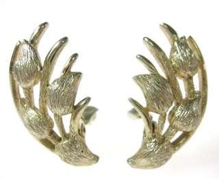 VINTAGE MONET Gold Tone Flower Bulb Clip On Earrings