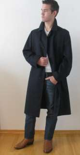 MINT AQUASCUTUM LONDON MANS BLACK WOOL MALTON AQUA 5 TRENCH OVER COAT