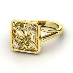 Floribunda Ring, 14K Yellow Gold Ring with Green Tourmaline & Diamond