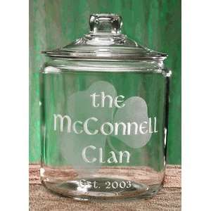 Personalized Irish Shamrock Glass Cookie Jar Kitchen