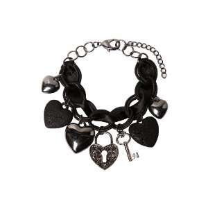 Black Ribbon Heart Charm Bracelet Jewelry