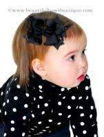 Dainty Black Layered Boutique Hair Bow Baby Toddler
