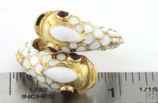 HEAVY 18K GOLD .40CT RUBY EYED WHITE ENAMEL OPPOSING FISH RING
