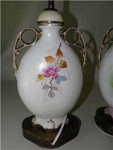 ANTIQUE PAIR FINE PORCELAIN HAND PAINTED FLORAL ELEGANT LAMPS BRASS