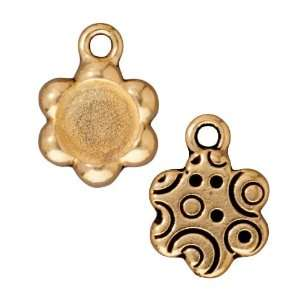 22K Gold Plated Pewter Flower Shape Picture Frame Pendant