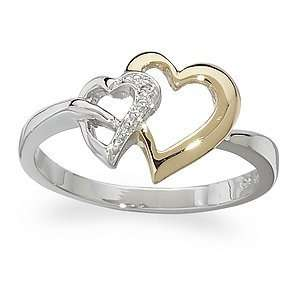Sterling Silver Two Tone Genuine Diamond Hearts Ring, Size 8 Jewelry