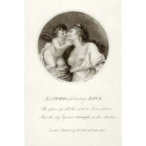 Sappho Embracing Love Etching Cipriani, Giovanni Battista Mannin, I