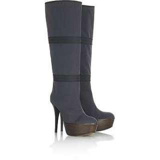 Marni Tall Fabric Boots Shoe Gray Gabardine platform 37