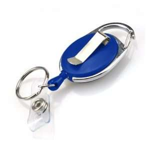 Carabiner ID & Name Badge Holder Reel, Opaque Blue, with Badge