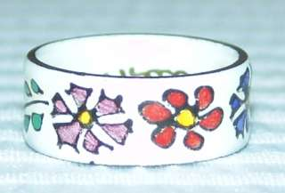 Retro Painted Folklore Hippy Flower Enamel On Copper Wide Band Ring Sz