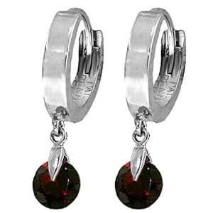 14k White Gold Huggie Earrings with dangling Garnets Jewelry