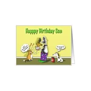 Happy Birthday Son, Fat Cat and Duncan with cake Card