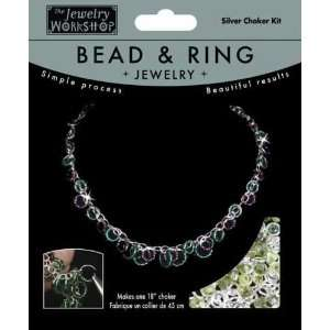 Bead & Ring Jewelry Kit 18 Choker   Silver