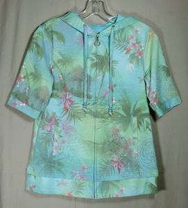 GREEN TEA Green & Blue Tropical Studded Knit HOODIE S