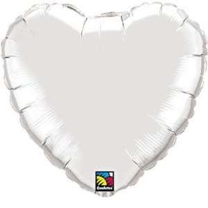 Foil Balloons   Hearts Silver Heart Balloon   Silver 18