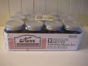 12 New KERR Half Pint Canning Mason Jars w Lids, Bands NIB