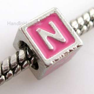 50 Pink Square Letter N Charms Bead Fit Bracelet 150870