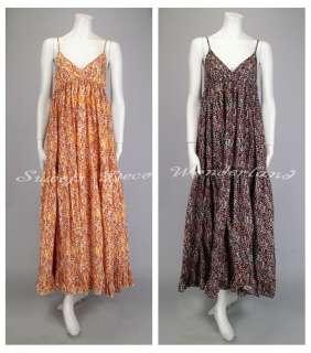 Akualani Heart Flower Printed Cotton Maxi Dress