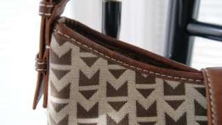 MICHAEL KORS MK signature jacquard leather clasp lock hobo bag purse