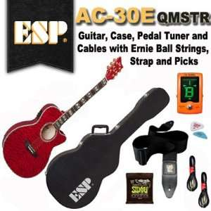 ESP AC 30E QMSTR Acoustic Electric Guitar, Case, Pedal