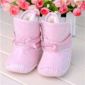 Strap Bow with Faux Fur Baby Girls Boots 6 24 mths US sz 3,4,5